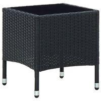 vidaXL Sodo stalas, juodos spalvos, 40x40x45, poliratanas