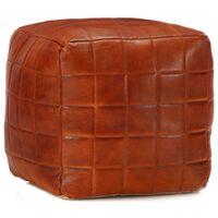 vidaXL Pufas, gelsvai rudos spalvos, 40x40x40 cm, tikra ožkos oda