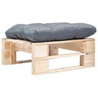 vidaXL Sodo otomanė iš paletės su pilka pagalve, natūrali, mediena