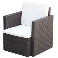 vidaXL Sodo kėdės su pagalvėlėmis, poliratanas, rudos
