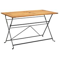 vidaXL Sulankstomas sodo stalas, 120x70x74cm, akacijos masyvas