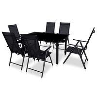 vidaXL Lauko valg. baldų kompl. su sulankst. kėd., 7d., juod., alium.