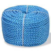 vidaXL Susukta virvė, polipropilenas, 12mm, 100m, mėlyna