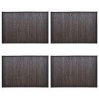 vidaXL Vonios kilimėliai, 4vnt., tamsiai rudi, 40x50cm, bambukas