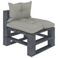 vidaXL Vidurinė sodo sofa iš palečių su taupe pagalvėmis, mediena