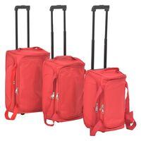 vidaXL Kelioninių lagaminų komplektas, 3 dalių, raudonas