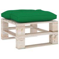 vidaXL Sodo otomanė iš paletės su žalia pagalvėle, pušies mediena