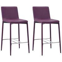 vidaXL Baro taburetės, 2 vnt., violetinės spalvos, dirbtinė oda