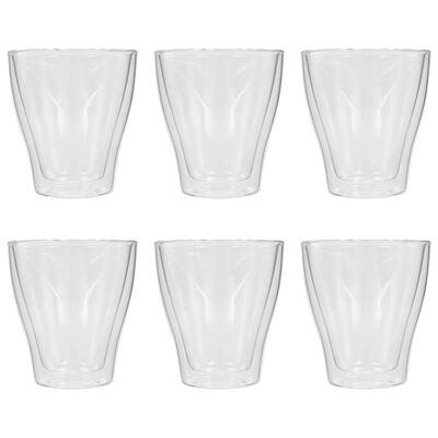 vidaXL Dvigubos sienelės stiklinės Latte Macchiato, 6vnt., 280ml