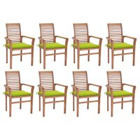 vidaXL Valgomojo kėdės su žaliomis pagalvėlėmis, 8vnt., tikmedis