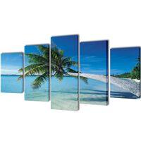 """Fotopaveikslas """"Paplūdimys ir Palmė"""" ant Drobės 200 x 100 cm"""