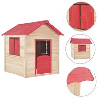 vidaXL Vaikų žaidimų namelis, raudonas, eglės mediena