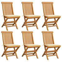 vidaXL Sodo kėdės su pagalvėlėmis, 6vnt., tikmedžio medienos masyvas