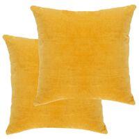 vidaXL Pagalvėlės, 2vnt., geltonos spalvos, 45x45cm, medvilnės aksomas