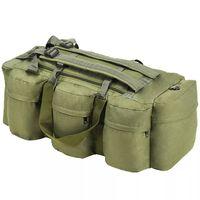 vidaXL Militaristinio stil. daiktų krepšys, 3-1, 120l, alyv. žal. sp.