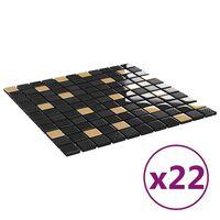 vidaXL Mozaikinės plytelės, 22vnt., juodos/auksinės, 30x30cm, stiklas