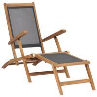 vidaXL Terasos kėdė su pakoja, juodos spalvos, tikmedžio masyvas