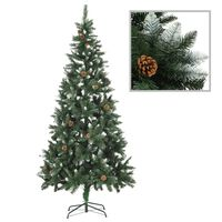 vidaXL Dirbtinė kalėdinė eglutė su kankorėžiais ir baltu blizg., 210cm