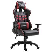 vidaXL Žaidimų kėdė, raudonojo vyno spalvos, dirbtinė oda