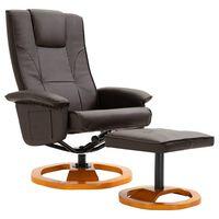 vidaXL TV krėslas su pakoja, rudos spalvos, dirbtinė oda, pasukamas