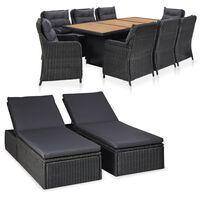 vidaXL Lauko poilsio baldų komplektas, 11 dalių, juodas, poliratanas