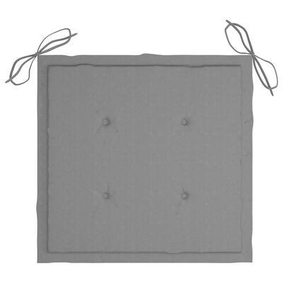 vidaXL Supama kėdė su pilka pagalvėle, tikmedžio masyvas
