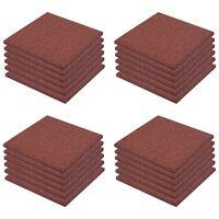 vidaXL Plytelės apsaug. nuo kritimų, 24vnt., raudonos, 50x50x3cm, guma