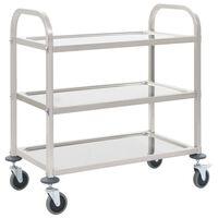 vidaXL Virtuvės vežimėlis, 107x55x90cm, nerūd. plienas, triaukštis
