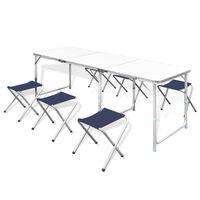 Sulankstomų Baldų Komplektas Stovyklavimui, Stalas ir 6 Kėdės