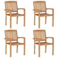 vidaXL Sudedamos sodo kėdės, 4vnt., tikmedžio masyvas