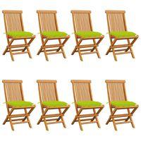 vidaXL Sodo kėdės su šviesiai žaliomis pagalvėlėmis, 8vnt., tikmedis