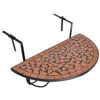 vidaXL Pakabinamas balkono stalas, terakotos sp., mozaik.
