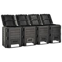 vidaXL Sodo komposto dėžė, juodos spalvos, 1600l
