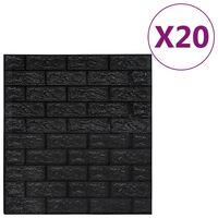 vidaXL Lipnūs 3D tapetai, juodos spalvos, 20vnt., plytų dizaino