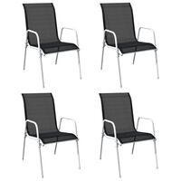 vidaXL Sudedamos sodo kėdės, 4vnt., juodos, plienas ir tekstilenas
