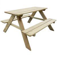 vidaXL Vaikiškas iškylos stalas 89x89,6x50,8cm, pušies mediena