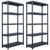 vidaXL Sandėliavimo lentynos, 2vnt., juod., 80x40x138cm, plast., 250kg