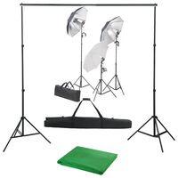 vidaXL Fotostudijos komplektas su apšvietimo rinkiniu ir fonu