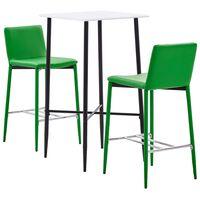 vidaXL Baro baldų komplektas, 3 dalių, žalios spalvos, dirbtinė oda