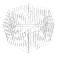 vidaXL Šešiakampis gabiono vazonas, 100x90x50cm, pakeltas