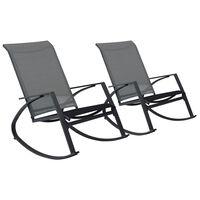 vidaXL Supamos sodo kėdės, 2vnt., tamsiai pilkos, tekstilenas