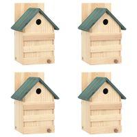 vidaXL Inkilai paukščiams, 4vnt., 23x19x33cm, eglės mediena