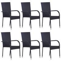 vidaXL Sudedamos lauko kėdės, 6vnt., juodos spalvos, poliratanas