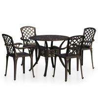 vidaXL Bistro baldų komplektas, 5 dalių, bronzinis, lietas aliuminis