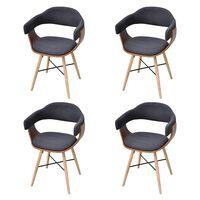 vidaXL Valgomojo kėdės, 4vnt., tamsiai pilkos, mediena ir audinys