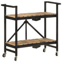 vidaXL Virtuvės vežimėlis, 87x36x81cm, mango medienos masyvas