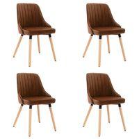 vidaXL Valgomojo kėdės, 4vnt., rudos spalvos, aksomas (2x323060)