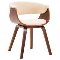 vidaXL Valgomojo kėdė, kreminė sp., išlenkta mediena ir dirbt. oda