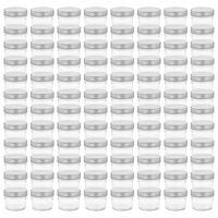 vidaXL Stikl. stiklainiai uog. su sidabriniais dangt., 96vnt., 110ml