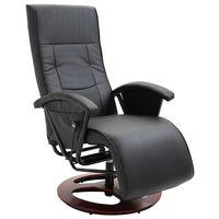vidaXL TV krėslas, juodos spalvos, dirbtinė oda, pasukamas